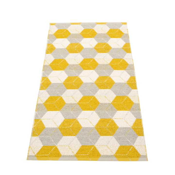 Trip Wendeteppich, 70 x 150 cm in mustard / linen / vanilla von Pappelina