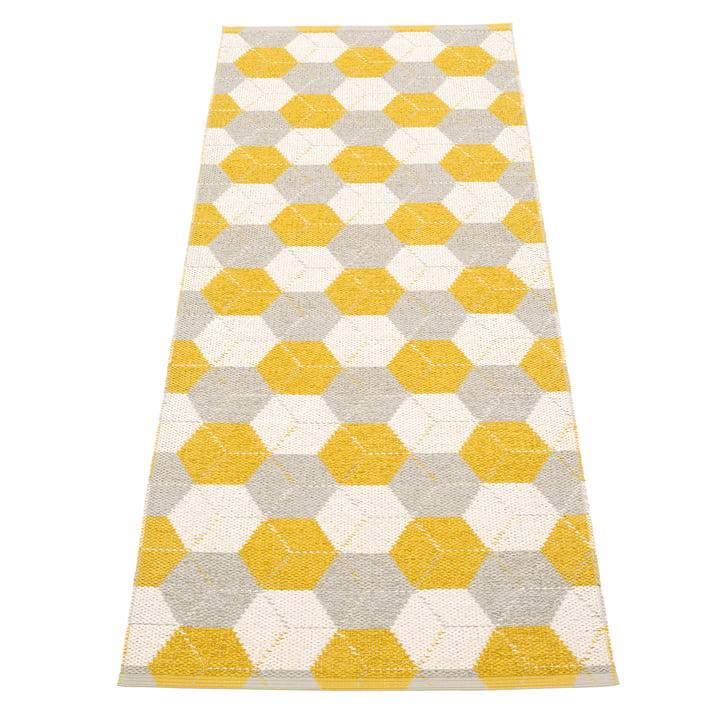 Trip Wendeteppich, 70 x 240 cm in mustard / linen / vanilla von Pappelina