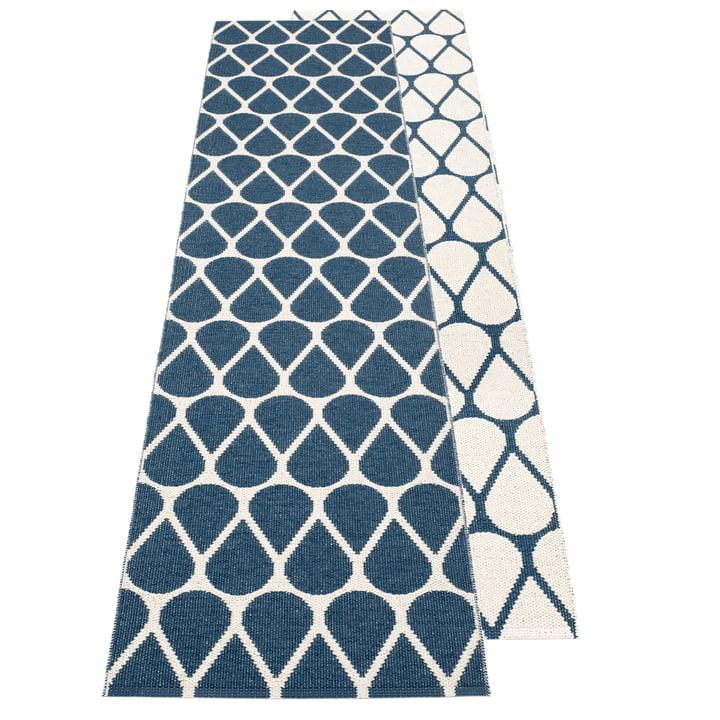 Otis Wendeteppich, 70 x 200 cm in ocean blue / vanilla von Pappelina