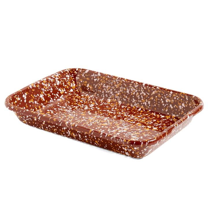 Emaille Tablett-Schale von Hay in braun gesprenkelt