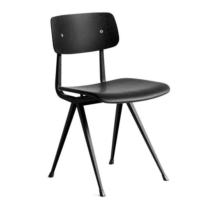 Result Chair von Hay in Eiche schwarz gebeizt / schwarz / Silk Leder (SIL0842)