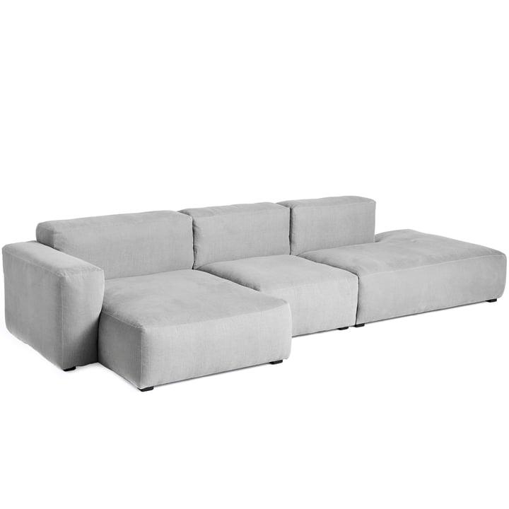 Mags Soft Sofa 3-Sitzer Kombination 4 Armlehne niedrig links von Hay in hellgrau (Linara 443) / Nähte: Tone-on-tone