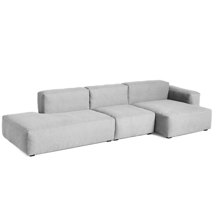 Mags Soft Sofa 3-Sitzer Kombination 4 Armlehne niedrig rechts von Hay in hellgrau (Linara 443) / Nähte: Tone-on-tone