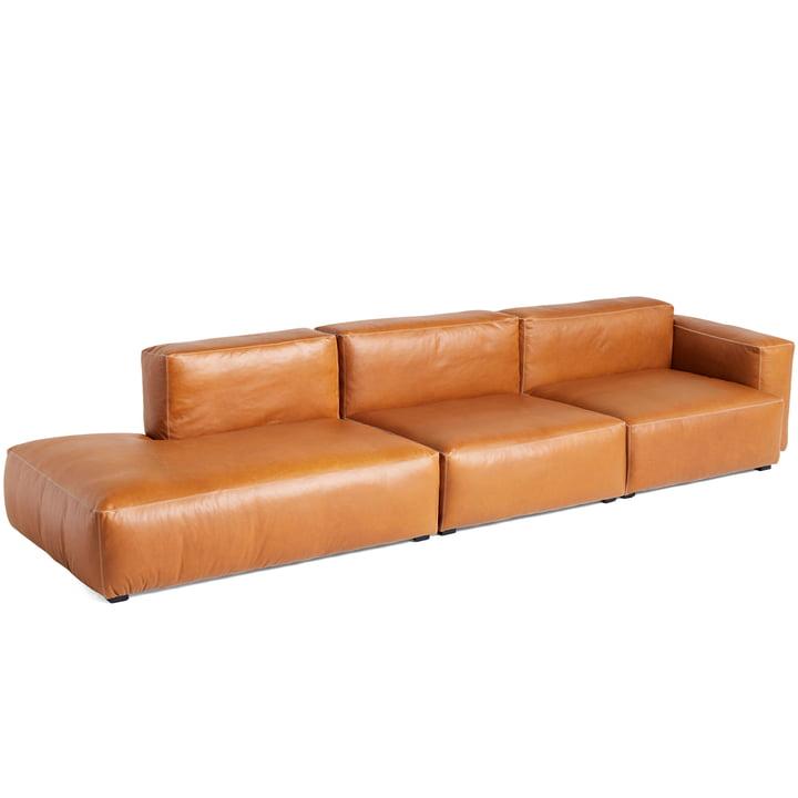 Mags Soft Sofa 3-Sitzer Kombination 12 Armlehne niedrig rechts von Hay in Leder Cognac (Sil0250) / Nähte hellgrau