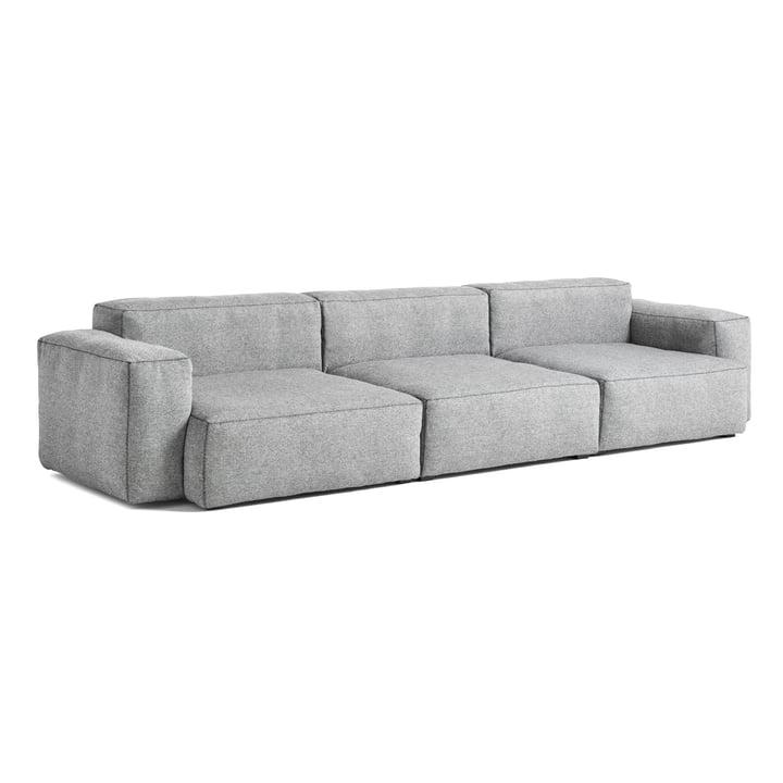Mags Soft Sofa 3-Sitzer Kombination 1 Armlehne niedrig von Hay in hellgrau (Hallingdal 130) / Nähte: dunkelgrau