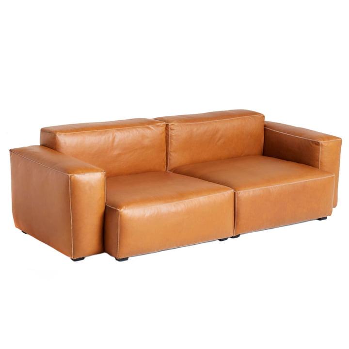 Mags Soft Sofa 2,5-Sitzer Kombination 1 Armlehne niedrig von Hay in Leder Cognac (Sil0250) / Nähte hellgrau