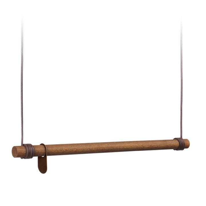 Swing Hängegarderobe M (80 cm) von LindDNA in Eiche geräuchert / Leder braun