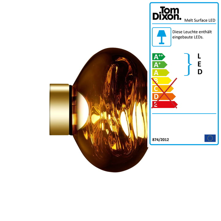 Melt Mini Surface LED-Deckenleuchte von Tom Dixon in Gold