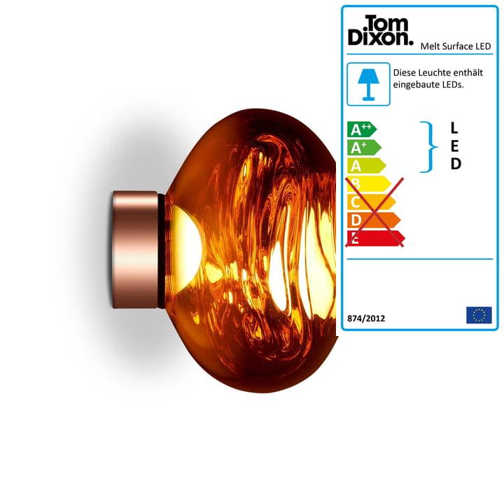 Melt Mini Surface LED-Deckenleuchte von Tom Dixon in Kupfer