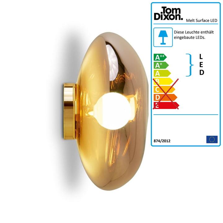 Melt Surface LED-Deckenleuchte von Tom Dixon in Gold