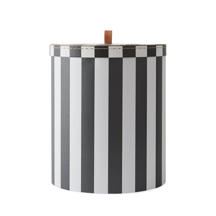 Aufbewahrungsbox L Ø 28 x H 32 cm von OYOY in schwarz / weiß