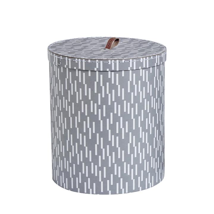 Aufbewahrungsbox L Ø 28 x H 32 cm von OYOY in hellgrau / weiß