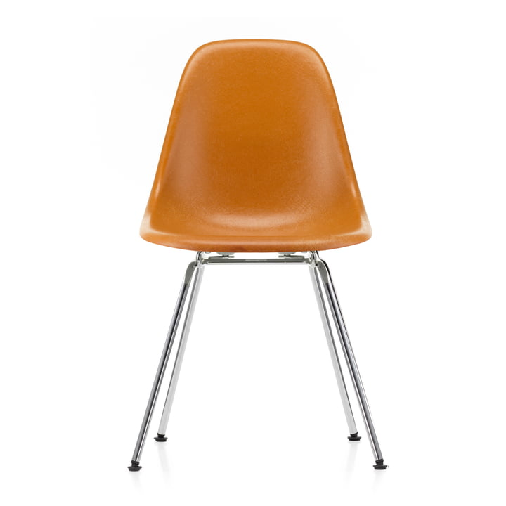 Eames Fiberglass Side Chair DSX von Vitra in verchromt / Eames ochre dark