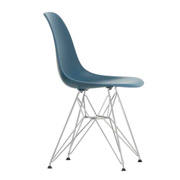 Eames Plastic Side Chair DSR von Vitra in verchromt / meerblau