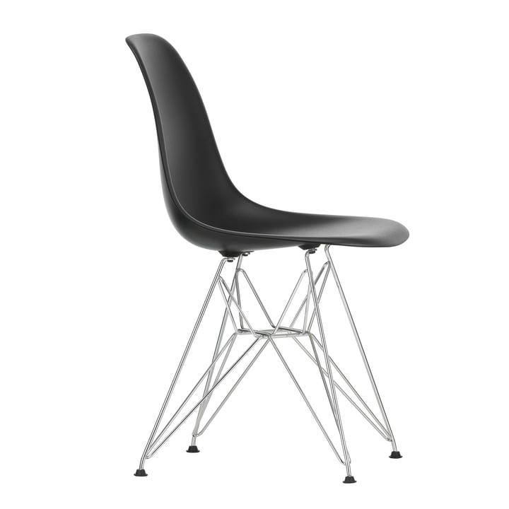 Eames Plastic Side Chair DSR von Vitra in verchromt / tiefschwarz