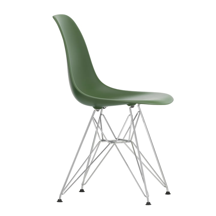 Eames Plastic Side Chair DSR von Vitra in verchromt / forest