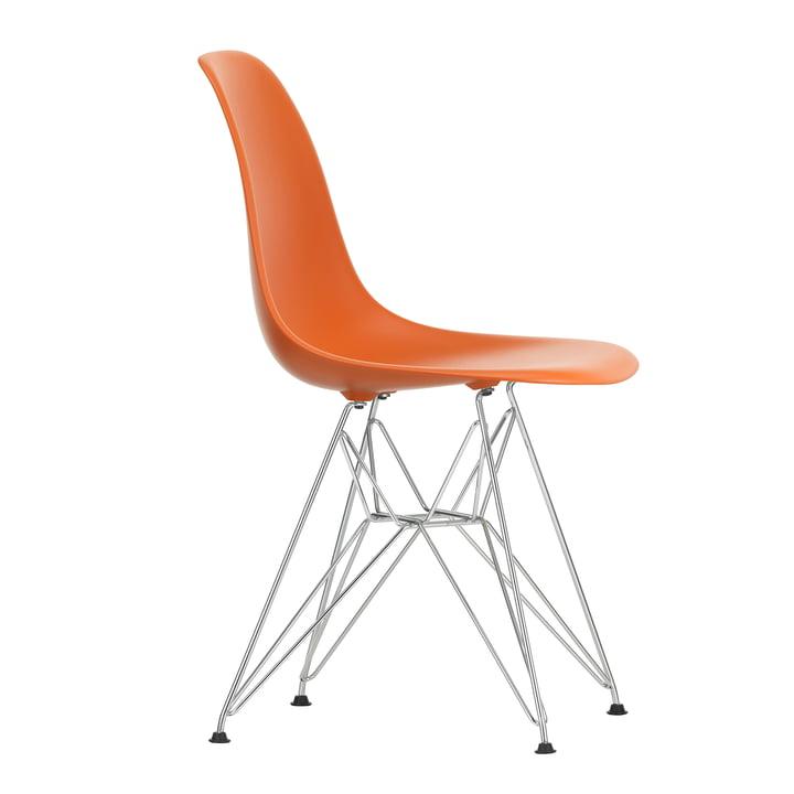 Eames Plastic Side Chair DSR von Vitra in verchromt / rostorange
