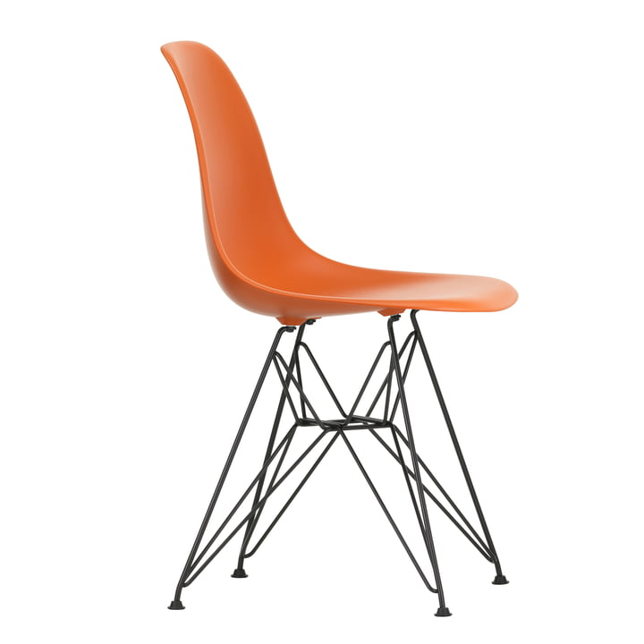 Eames Plastic Side Chair DSR von Vitra in basic dark / rostorange