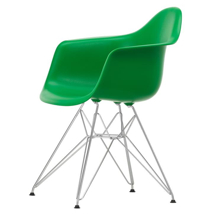 Eames Plastic Armchair DAR von Vitra in verchromt / grün