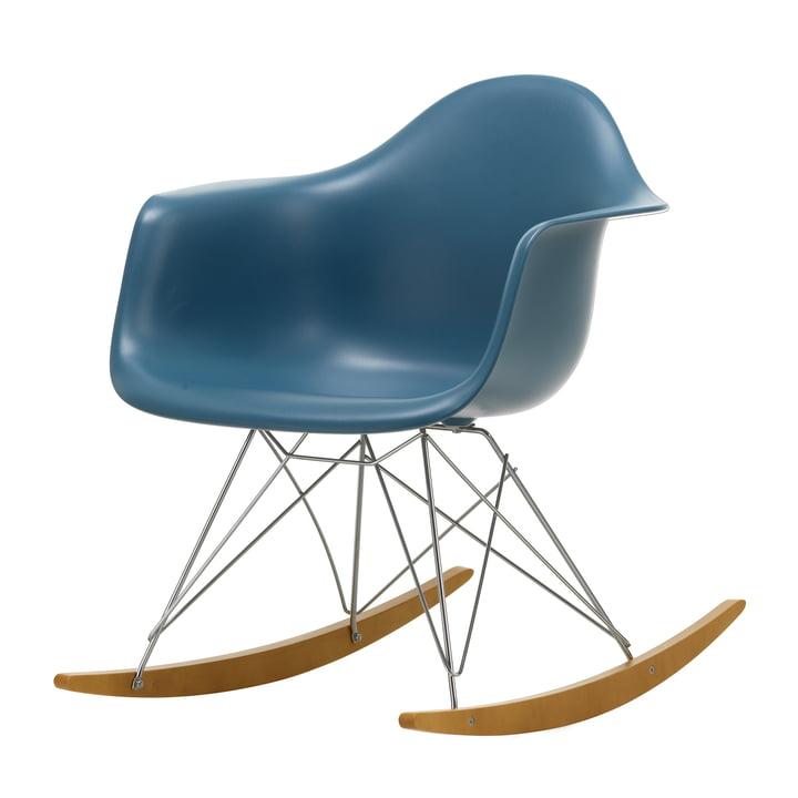 Eames Plastic Armchair RAR von Vitra in Ahorn gelblich / Chrom / meerblau