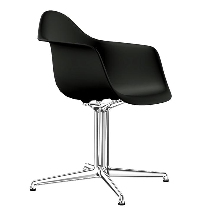 Eames Plastic Armchair DAL von Vitra in Aluminium poliert / tiefschwarz