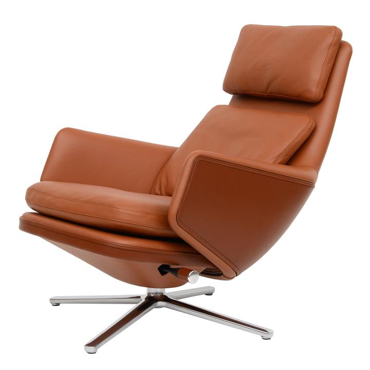 Grand Relax Sessel von Vitra in Aluminium poliert / Leder Premium cognac