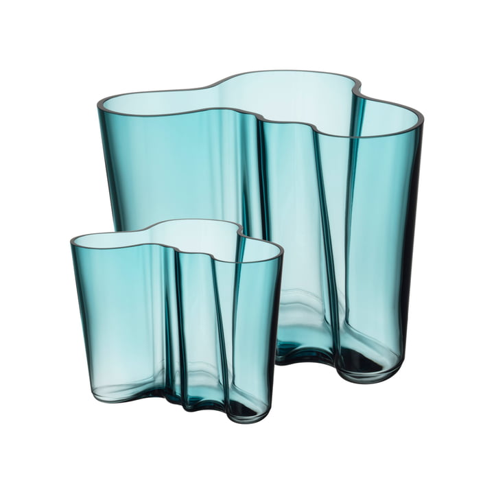Aalto Vasen-Set 160 + 95 mm von Iittala in seeblau