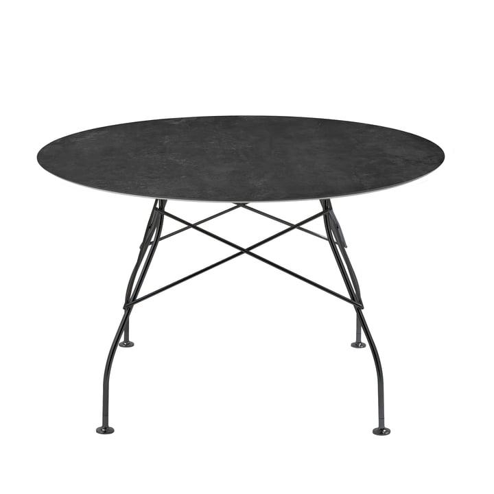 Glossy Tisch Ø 118 x H 72 cm von Kartell in schwarz / Marmor schwarz