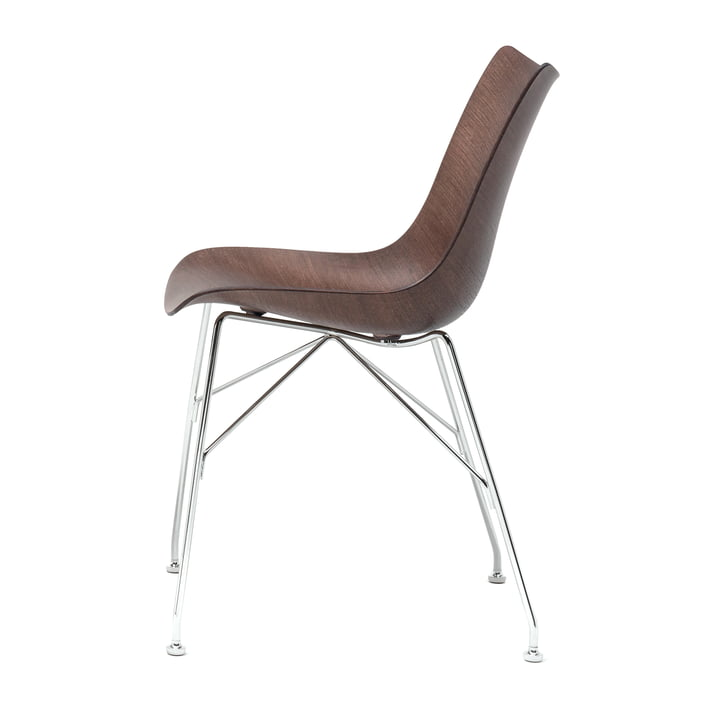 P/Wood Stuhl von Kartell in verchromt / dunkel