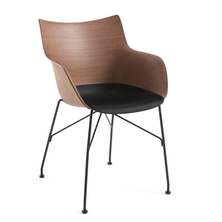 Q/Wood Armlehnstuhl von Kartell in schwarz / schwarz / dunkel