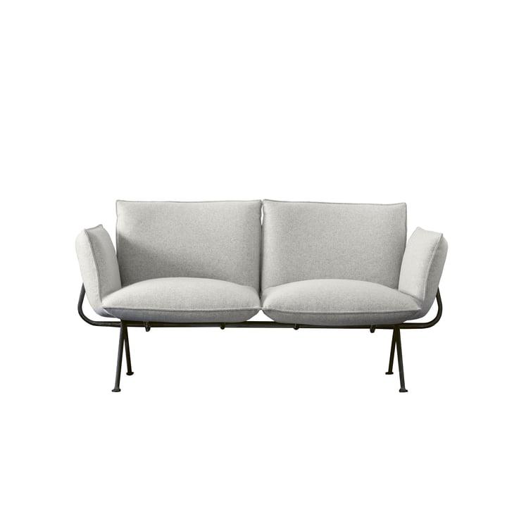 Officina 2-Sitzer Sofa, Gestell anthrazitgrau 5142 / Bezug hellgrau (Divina Melange 120) von Magis