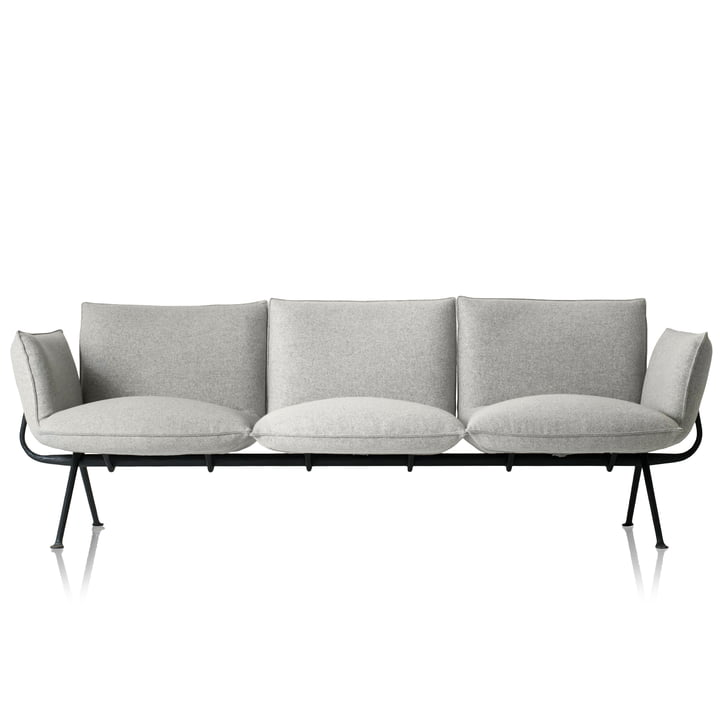 Officina 3-Sitzer Sofa, Gestell anthrazitgrau 5142 / Bezug hellgrau (Divina Melange 120) von Magis
