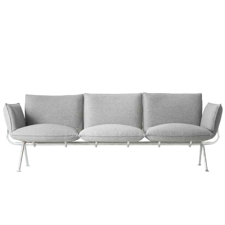 Officina 3-Sitzer Sofa, Gestell verzinkt / Bezug hellgrau (Divina Melange 120) von Magis