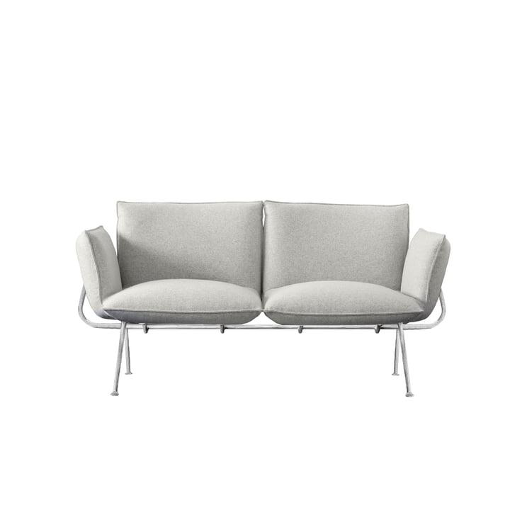 Officina 2-Sitzer Sofa, Gestell verzinkt / Bezug hellgrau (Divina Melange 120) von Magis