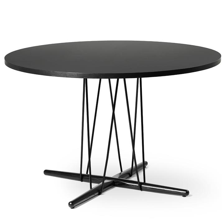 E020 Embrace Tisch Ø 139.5 cm in Eiche schwarz lackiert / Laminat schwarz / schwarz von Carl Hansen