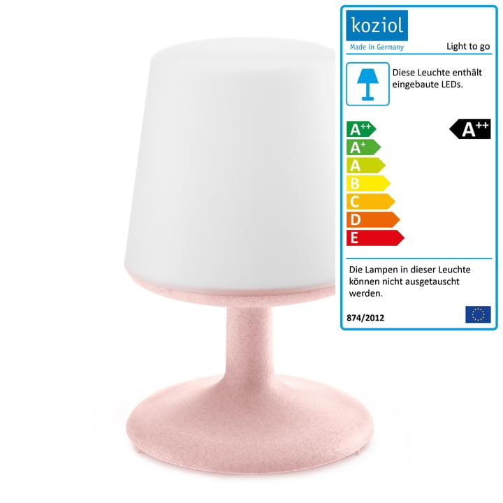 Light to go Akku-Tischleuchte in organic pink von Koziol