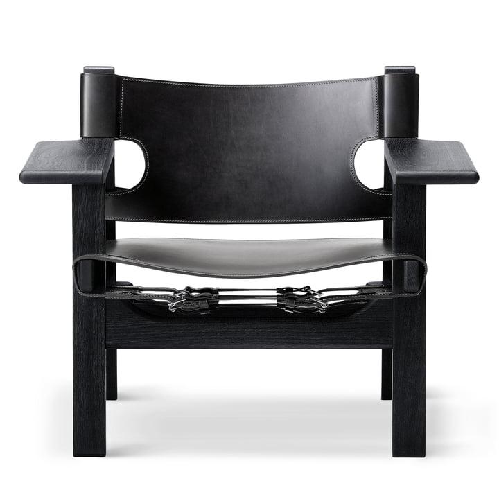Spanish Chair in Eiche schwarz lackiert / Leder schwarz von Fredericia