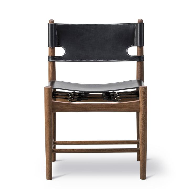 Spanish Dining Chair in Eiche geräuchert / Leder schwarz von Fredericia