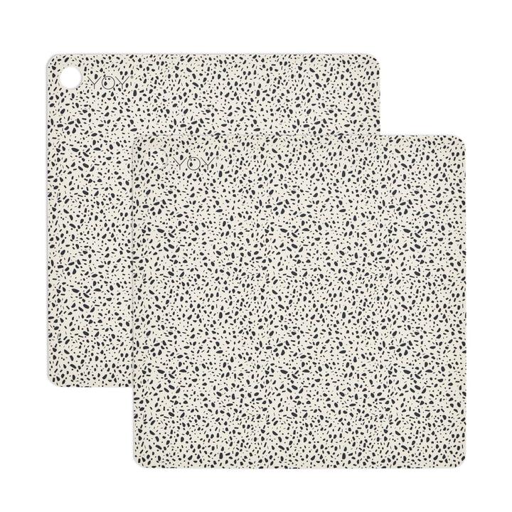 Tischset Terrazzo, 38 x 38 cm in weiß (2er-Set) von OYOY