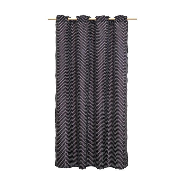 Duschvorhang mit Fischgrätenmuster in schwarz / weiß von OYOY