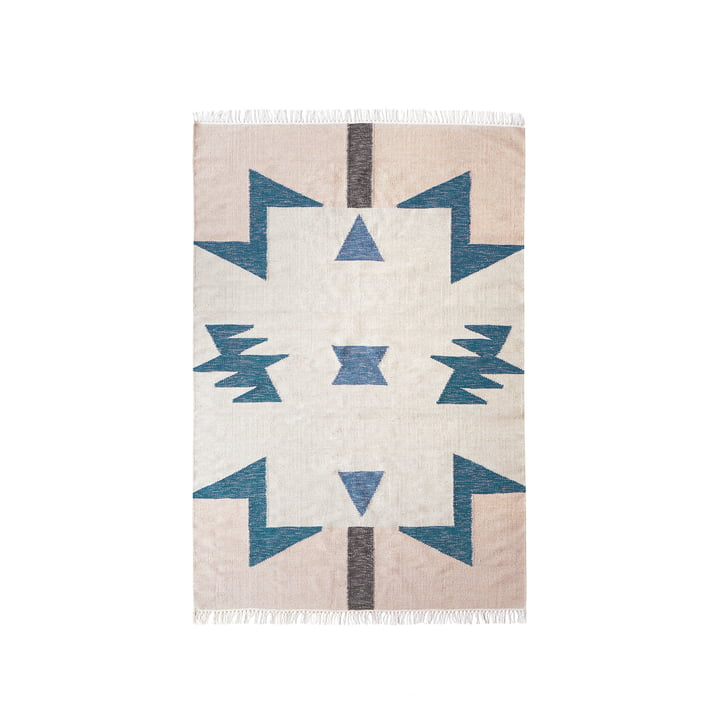 Kelim Rug Blue Triangles von ferm Living in klein