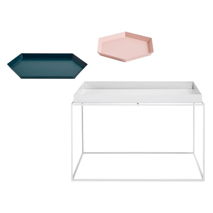 Tray Table 60 x 60 cm in weiß + Kaleido S in pfirsich und Kaleido M in dunkelgrün von Hay