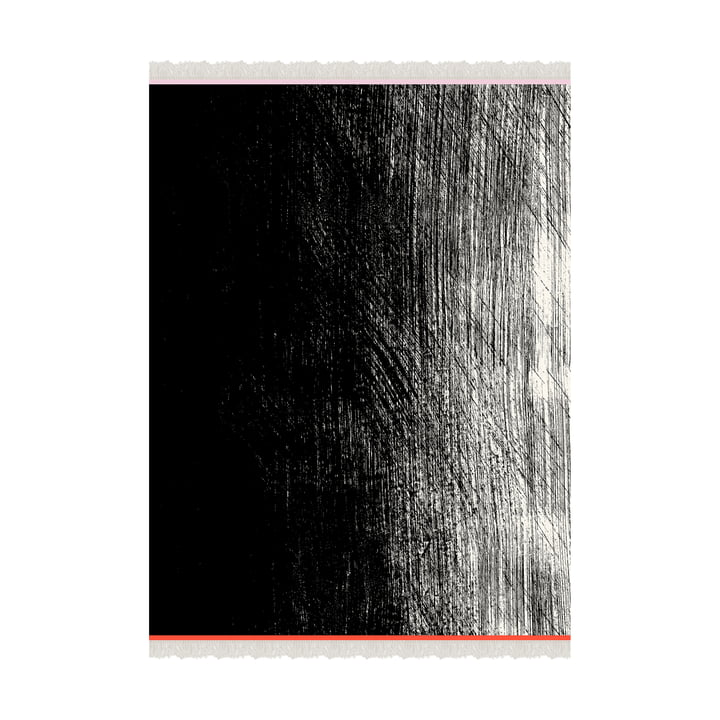 Kuiskaus Wolldecke 140 x 180 cm von Marimekko in schwarz / weiß / rot