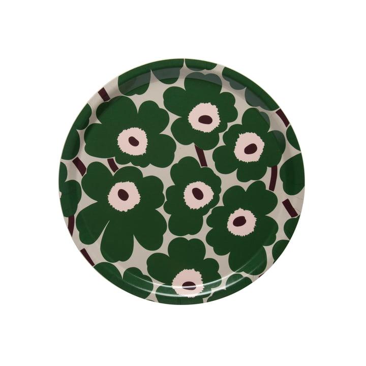 Mini Unikko Tablett rund Ø 31 cm von Marimekko in beige / grün / pfirsich