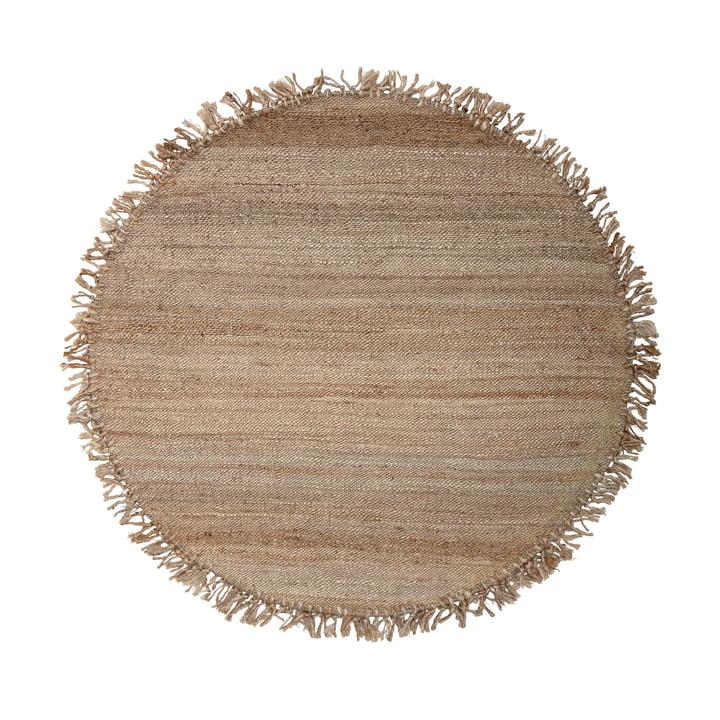 Naturfaser Teppich mit Fransen Ø 150 cm aus Jute von Bloomingville