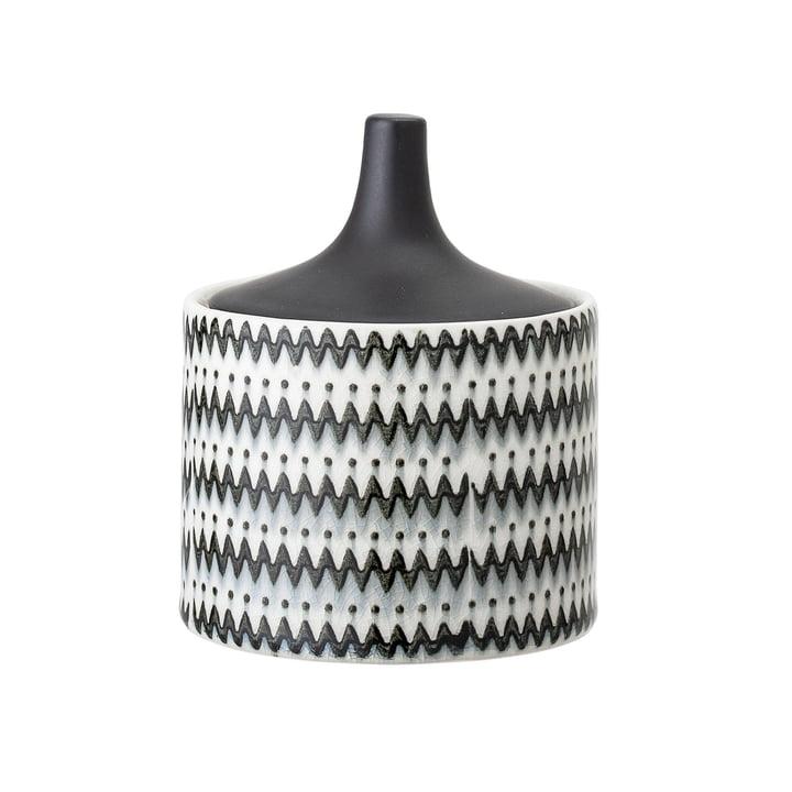 Steingut-Gefäß mit Deckel Ø 10 x H 12 cm von Bloomingville in schwarz / weiß