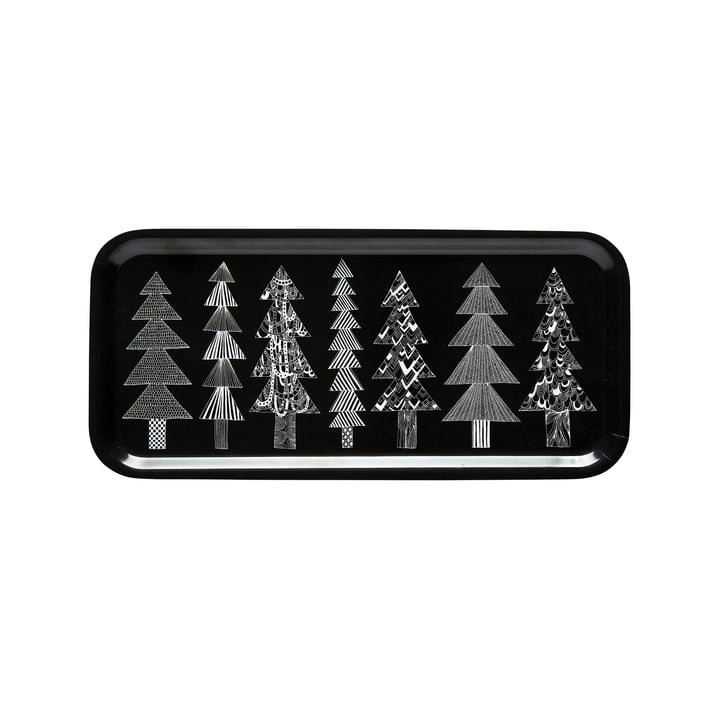 Kuusikossa Tablett 15 x 32 cm von Marimekko in schwarz / weiß