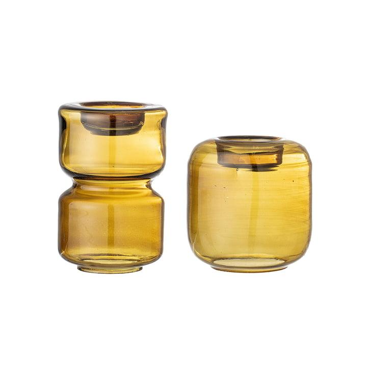Votive Teelichthalter aus Glas von Bloomingville in braun (2er-Set)