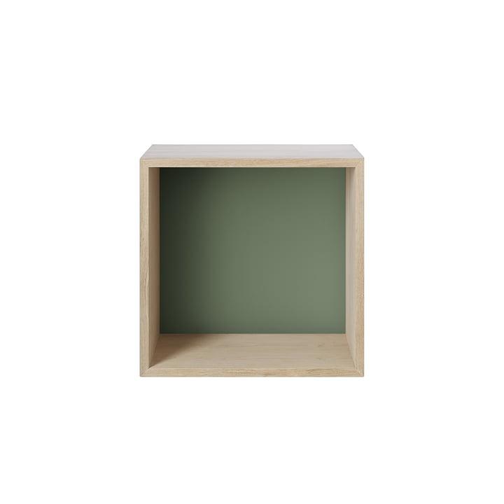 Stacked Regalmodul 2.0, medium / Eiche, Rückwand in dusty green von Muuto