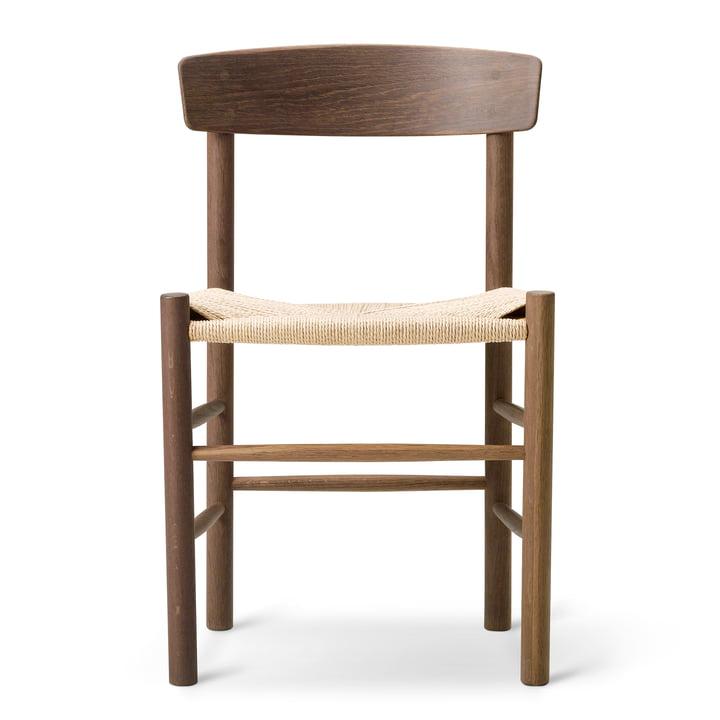 J39 Mogensen Stuhl von Fredericia aus Walnuss lackiert / Schnurgeflecht Natur